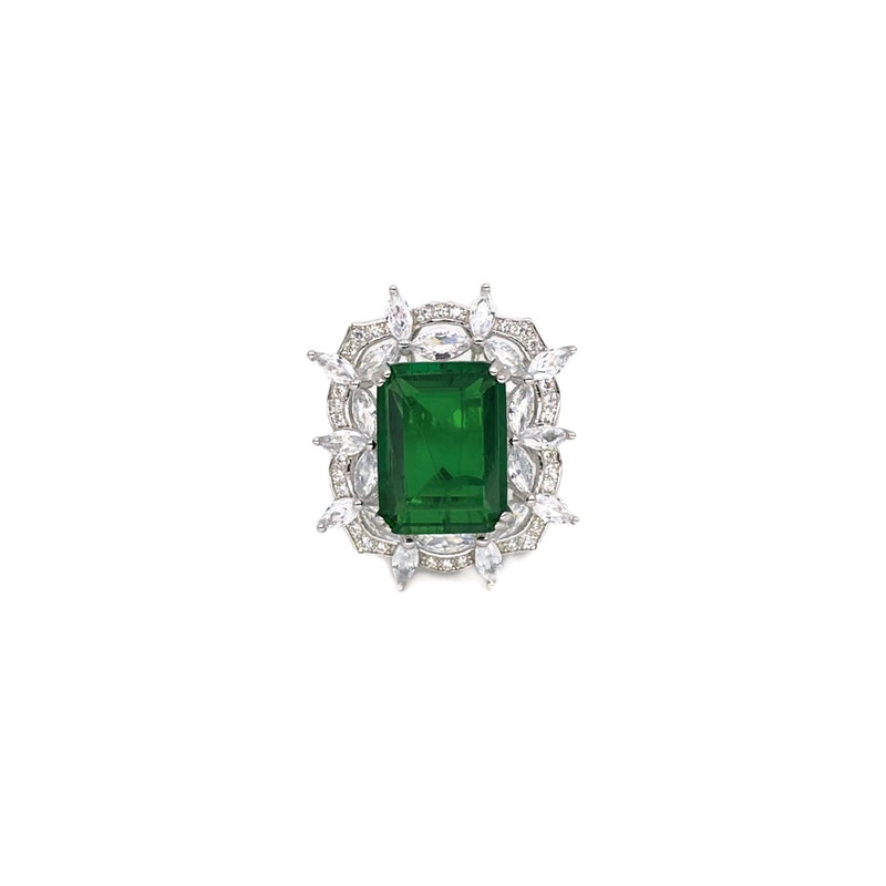 Emerald Starburst Cocktail Ring