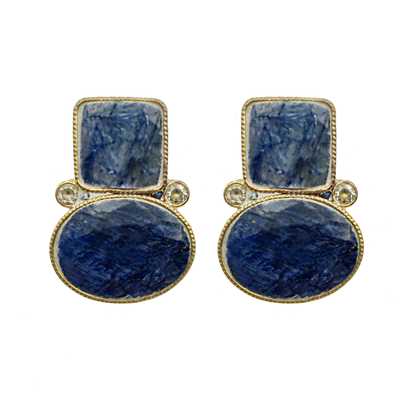 Untreated Turkish Sapphire Stone Earrings