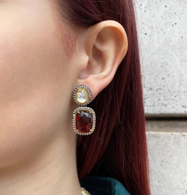 Zircon Ruby Earrings