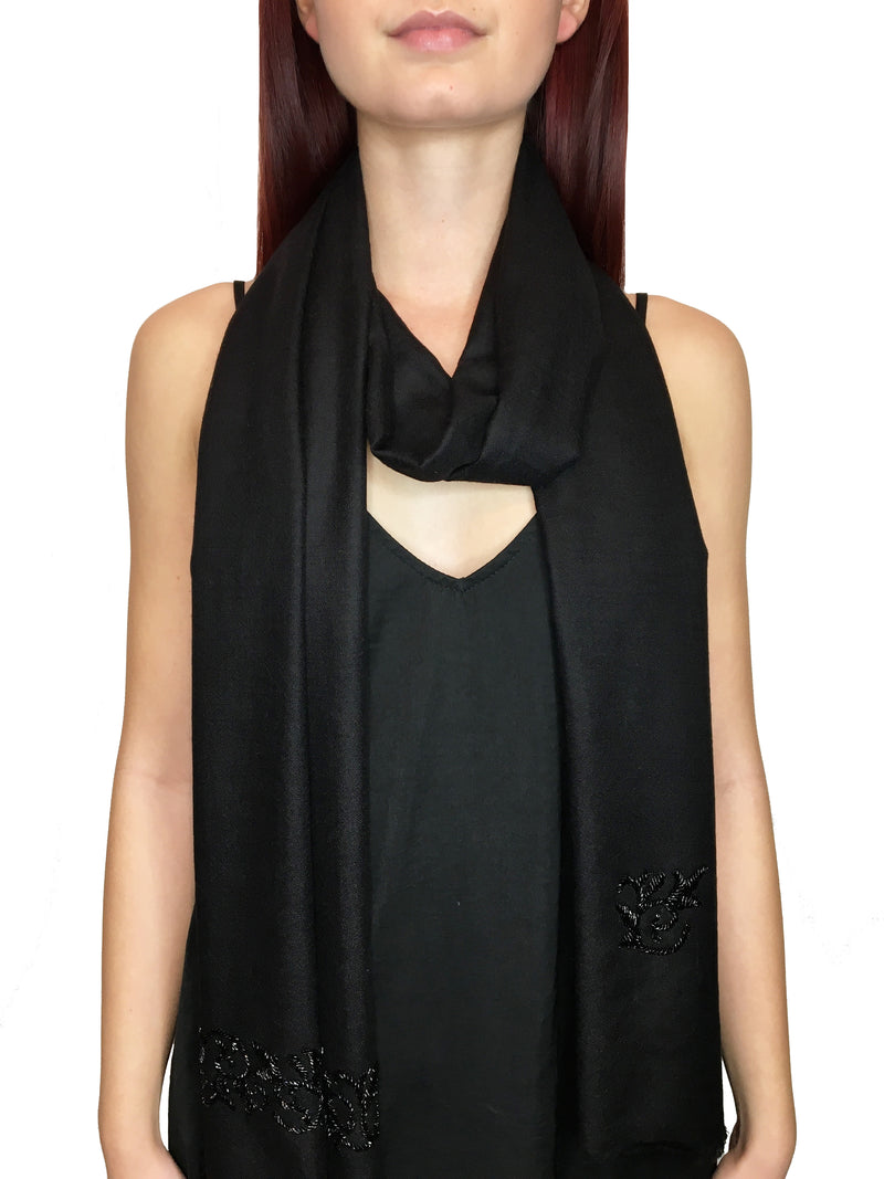 Black Glass Beaded Scroll Pashmina Shawl