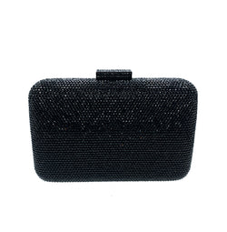 Black Rectangle Crystal Clutch