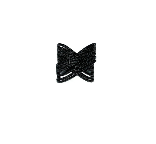 Black Pave X Ring