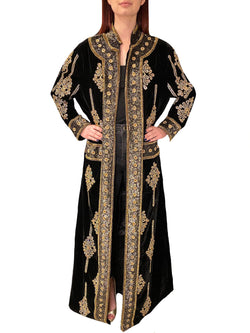 Long Velvet Two Tone Beaded Jacket