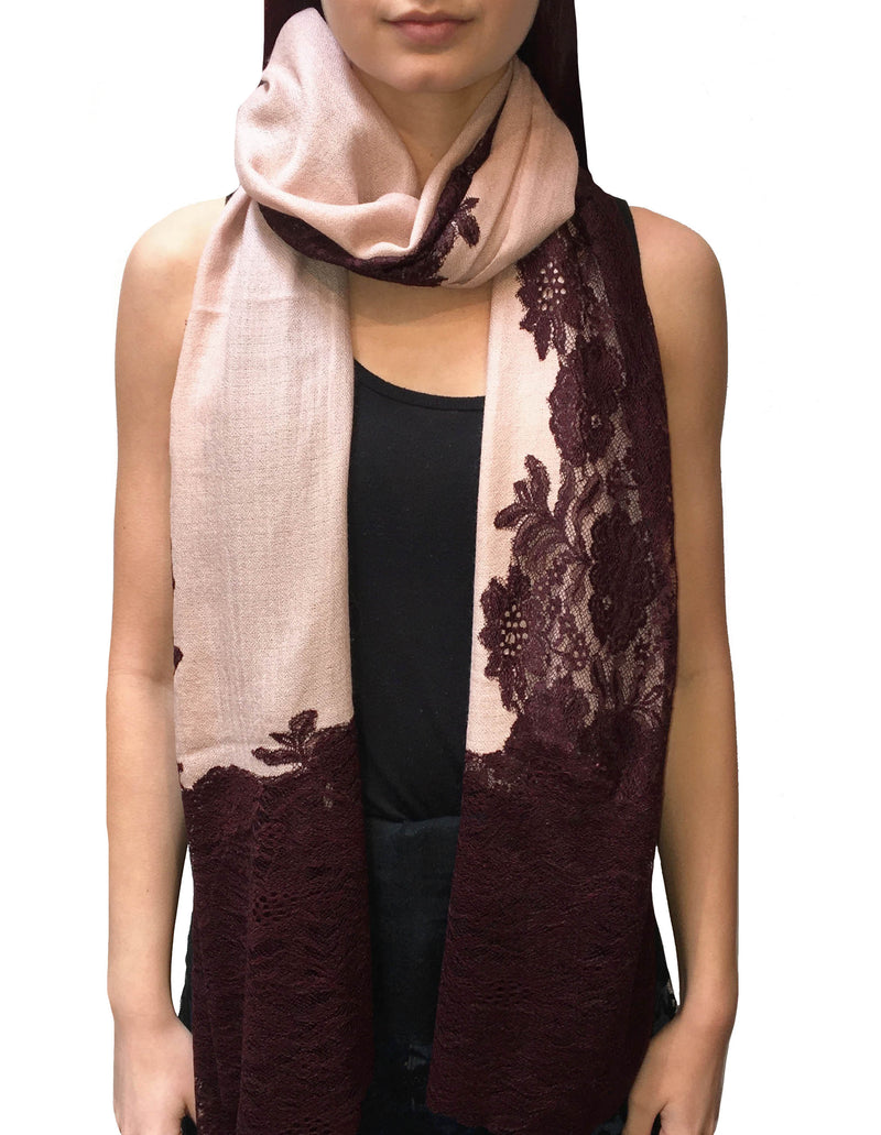 Blush & Wine Lace Panel Pashmina Shawl