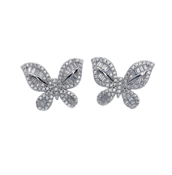 Butterfly Baguette Stud Earrings