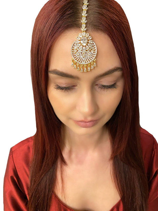 Circle Flower Teardrops Tikka Headpiece