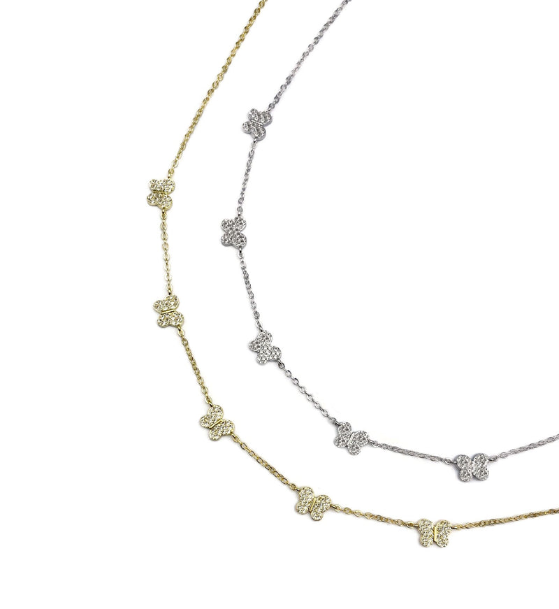 Dainty Pave Butterflies Necklace