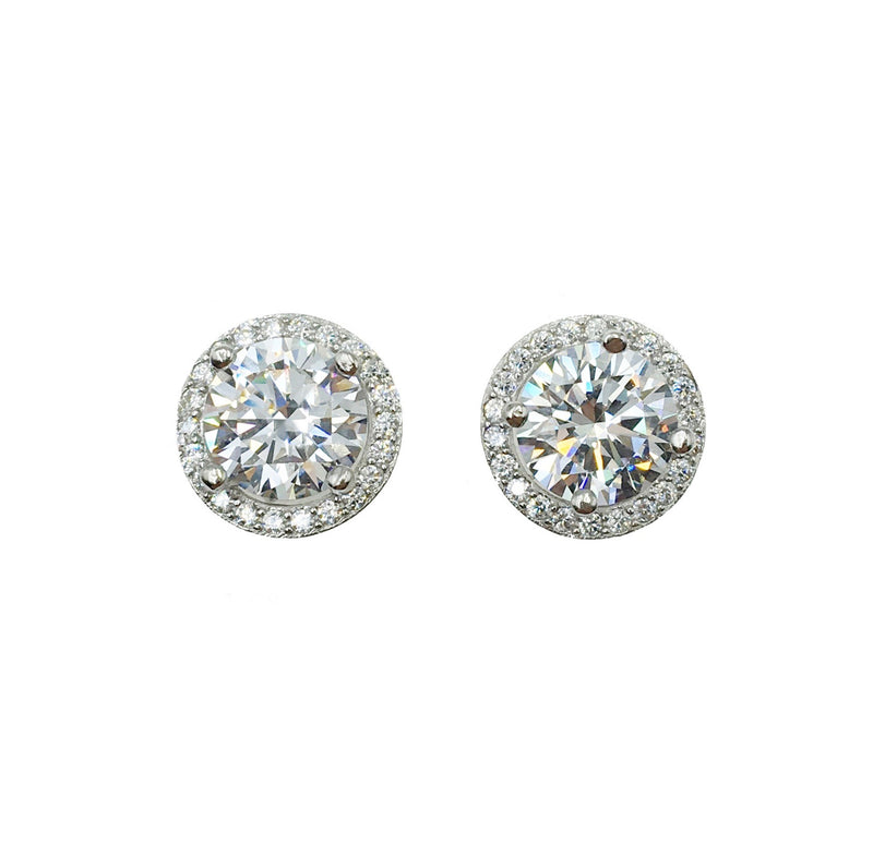 Halo Solitaire Stud Earrings