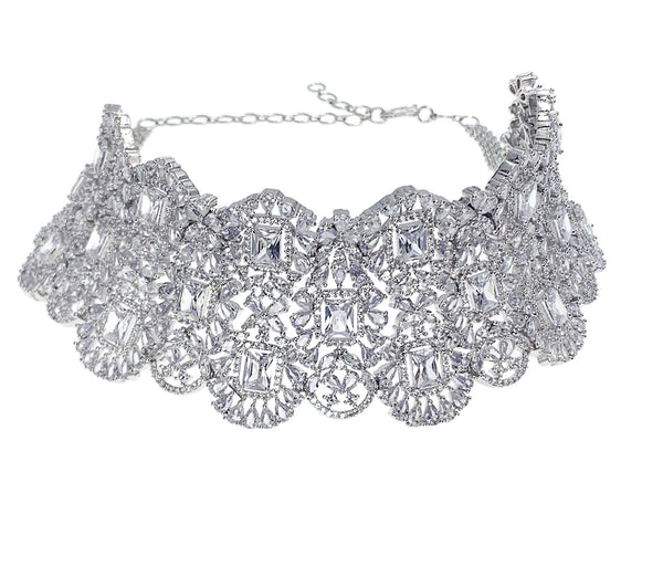 Diamondesque Princess Halo Collar Necklace and Earrings