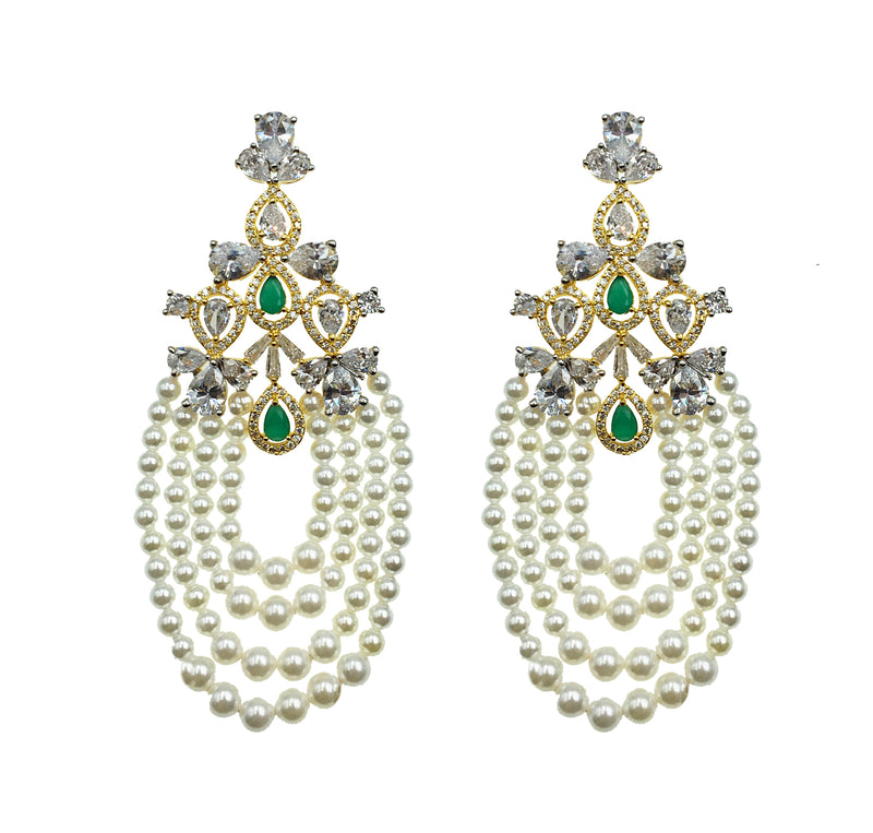 Emerald Pearl Strand Earrings