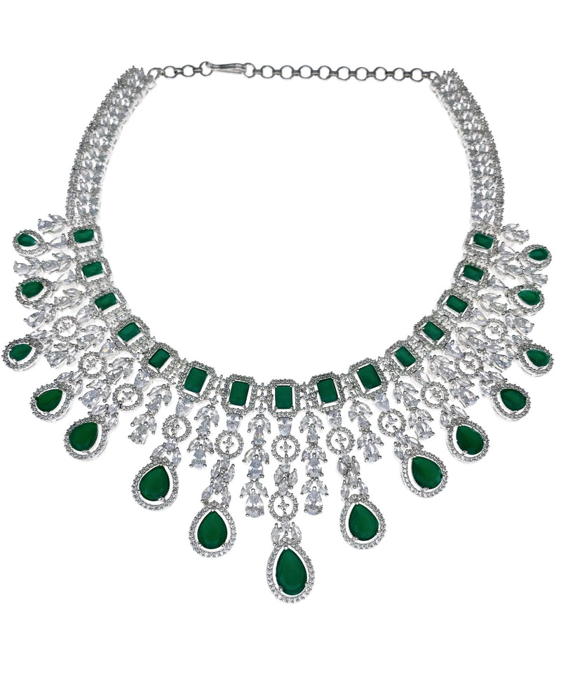 Emerald Geo Halo Teardrop Necklace, Earrings & Tikka
