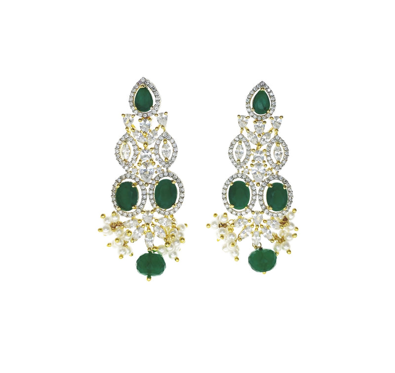 Emerald Ovals Diamondesque Collar Necklace and Earrings