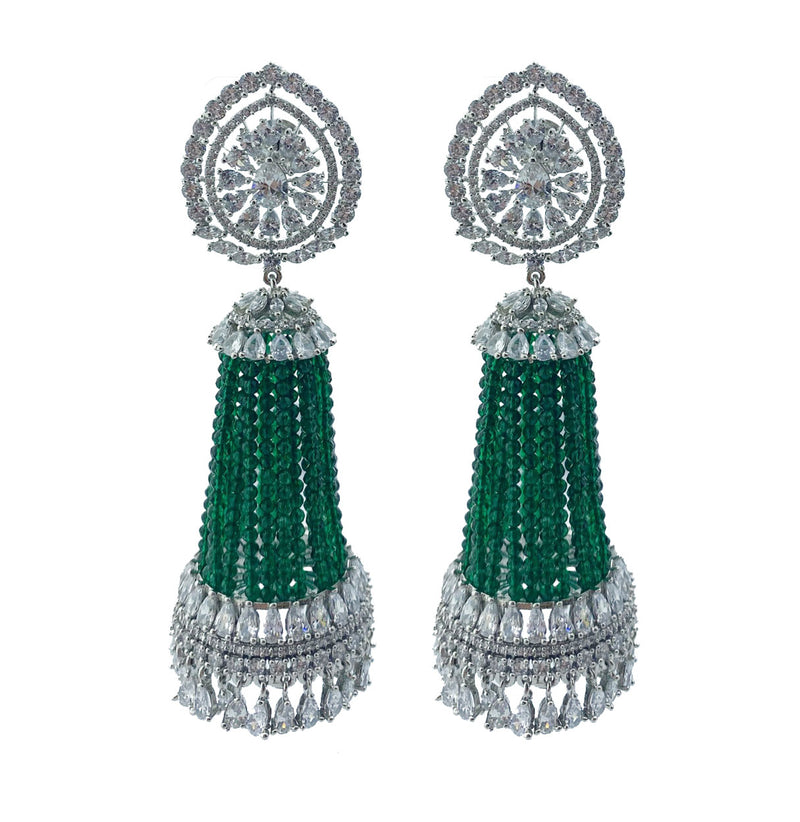 Diamondesque Emerald Strands Jhumka Earrings