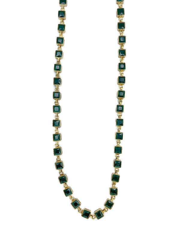 Emerald stone square necklace