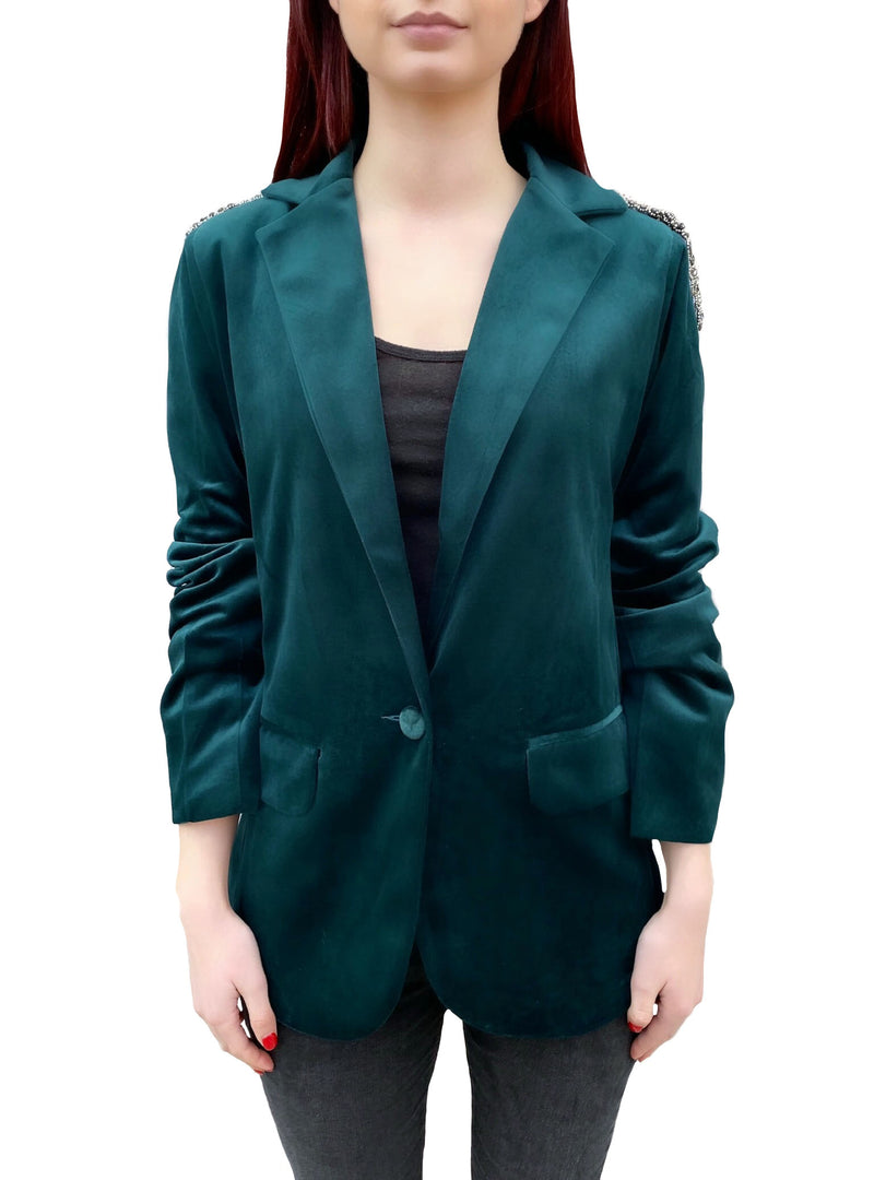 emerald_green_velvet_beaded_blazer_shoulders_boyfriend_jeweled_jacket_handmade_designer_one_of_a_kind_boutique_curated_celbrity_stylist_balmain
