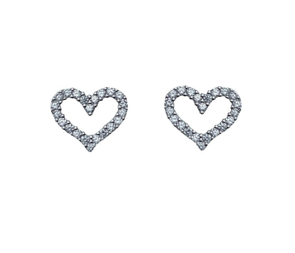 Page Heart Outline Stud Earrings
