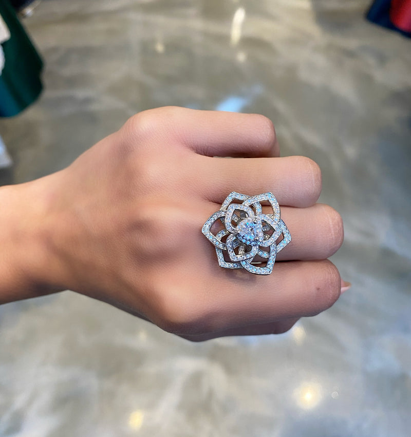 Gardenia Flower Heart Ring
