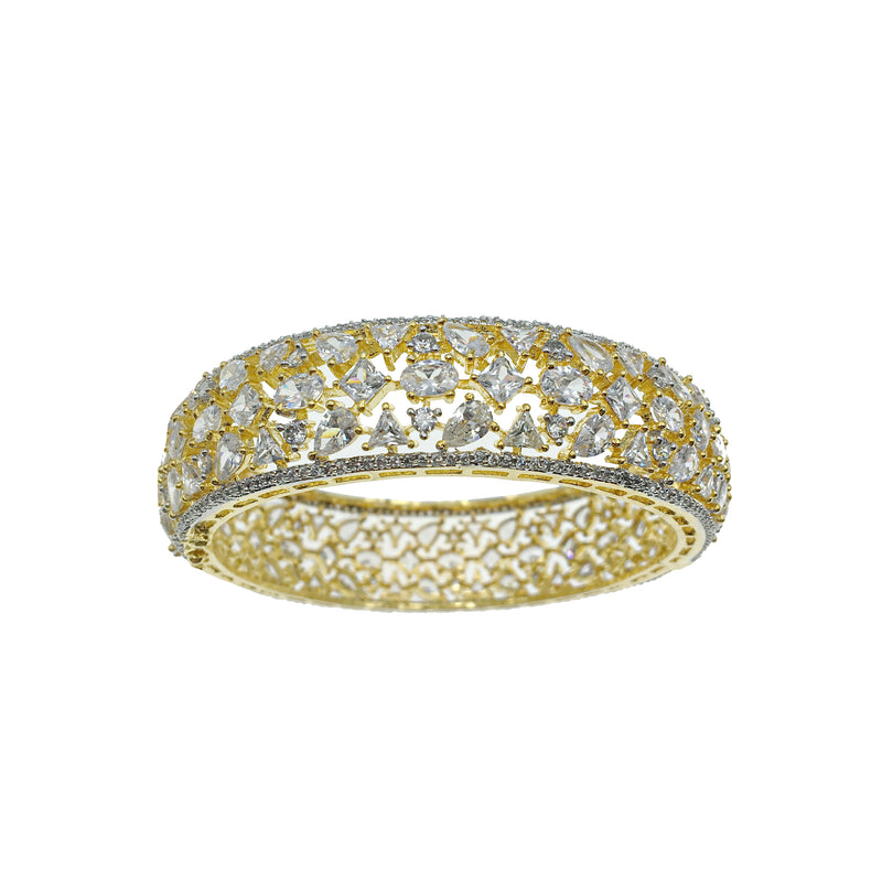 Gold Geo Diamondesque Clasp Bangle