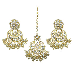 Kundan Pearl Flower Earrings & Tikka Set