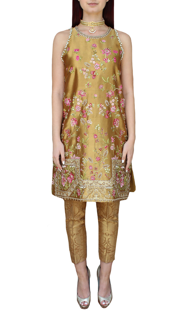 Gold Metallic Floral Tunic