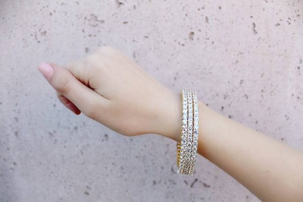 Gold Solitaire Diamondesque Bangles