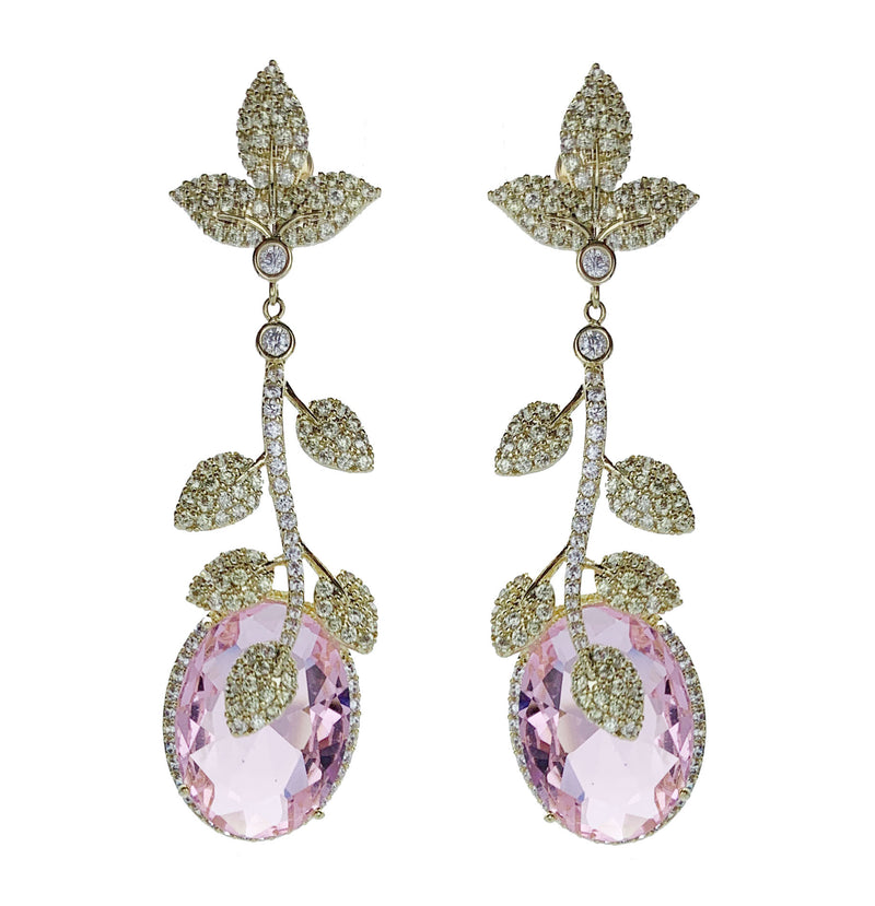 Pave Leaf Gem Drop Earrings