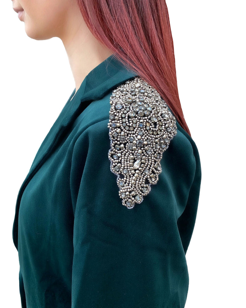 Emerald Green Velvet Beaded Shoulder Blazer Jacket