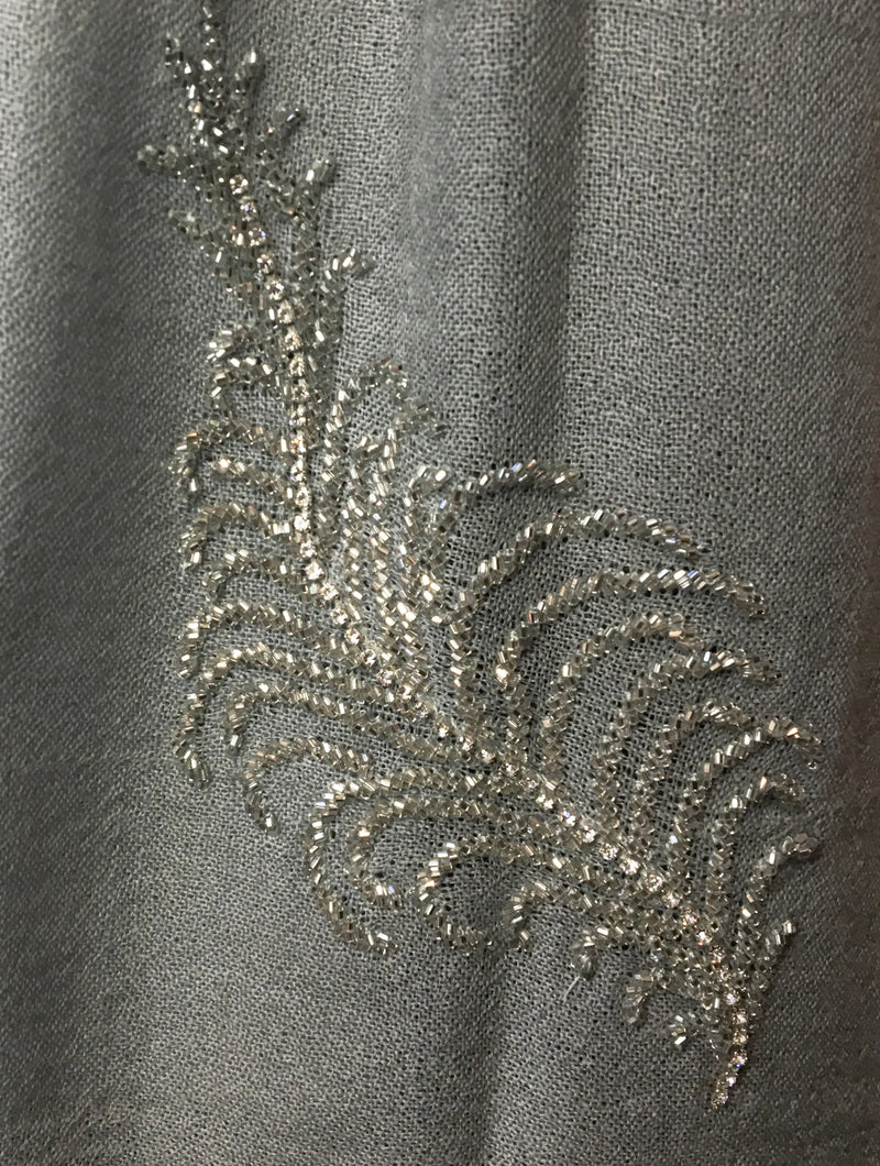 Gray Feather Beaded Pashmina Shawl