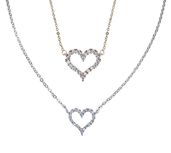 Pave Heart Outline Pendant Necklace
