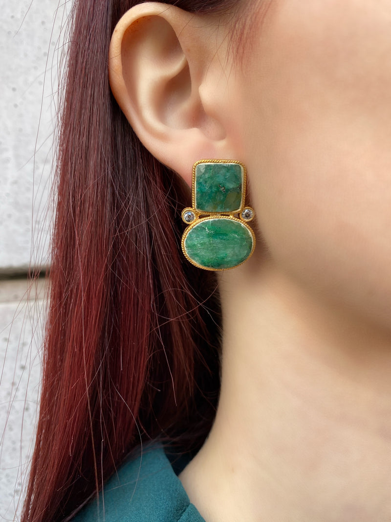 Untreated Turkish Emerald Stone Earrings