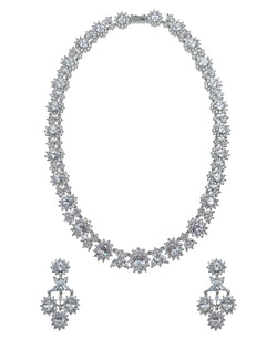 Diana Flower Halo Necklace and Earrings