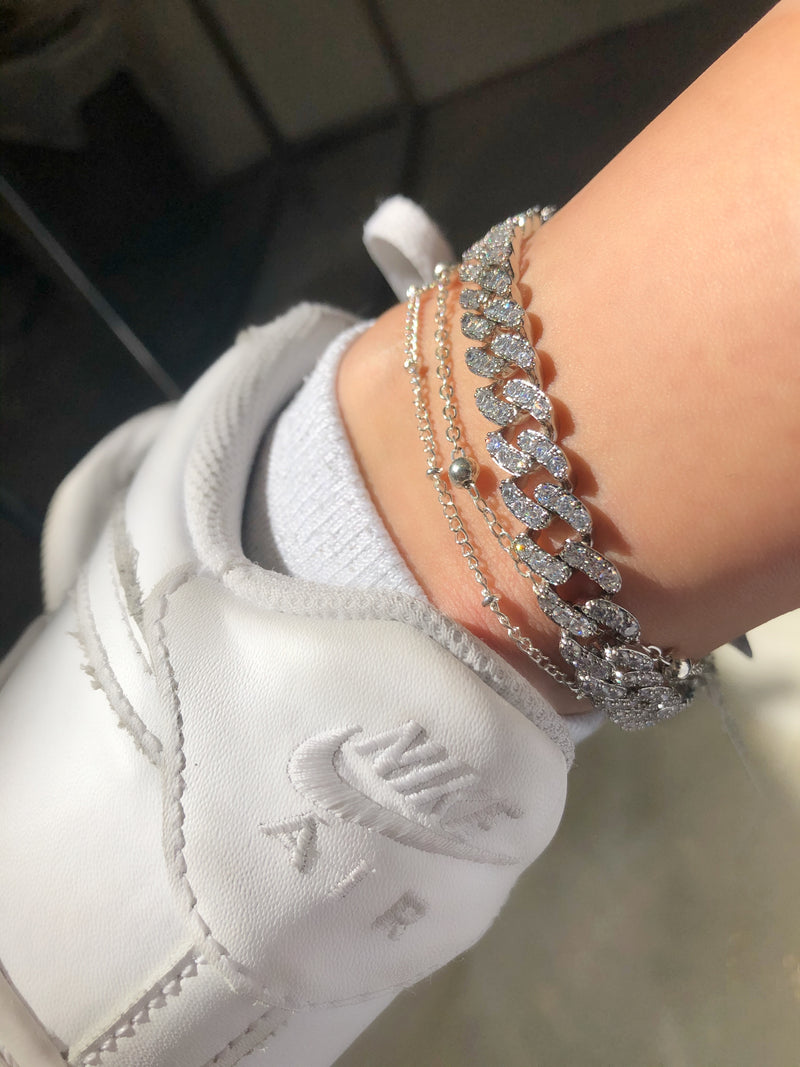Pave Cuban Chain Anklet