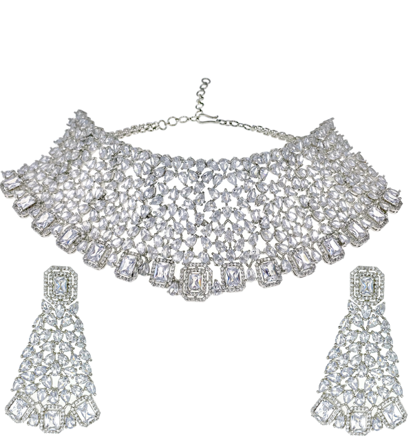 Princess Teardrop Cluster Collar Necklace and Earrings