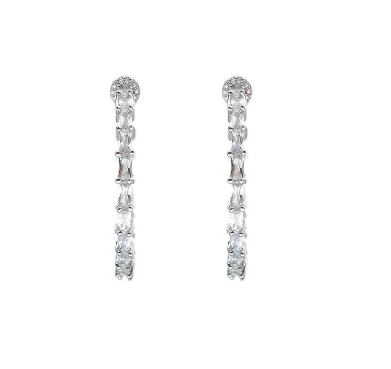 Diamondesque Baguette Hoop Earrings