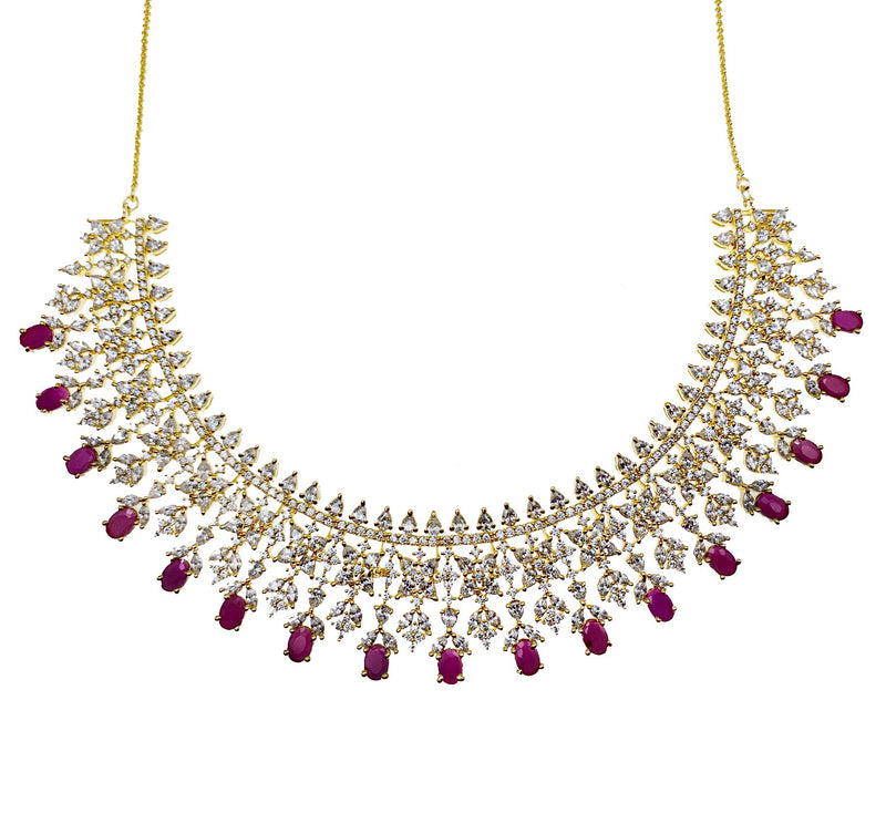 Ruby Diamondesque Teardrop Necklace & Earrings