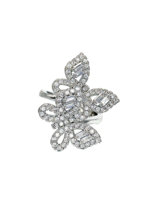 Double Butterfly Baguette Ring