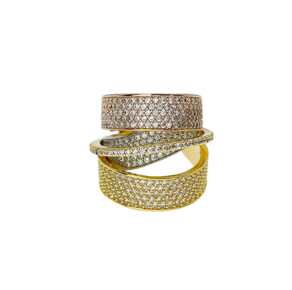 Tri Tone Pave 3D Ring