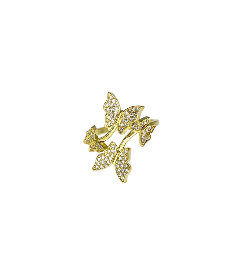4 Butterflies Adjustable Ring