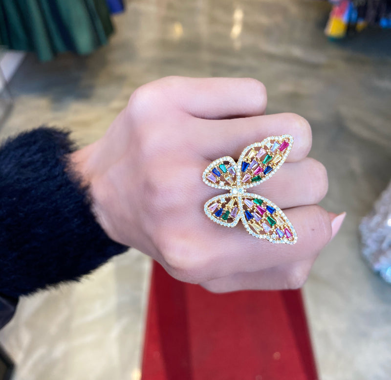 Multi-colored butterfly baguette ring