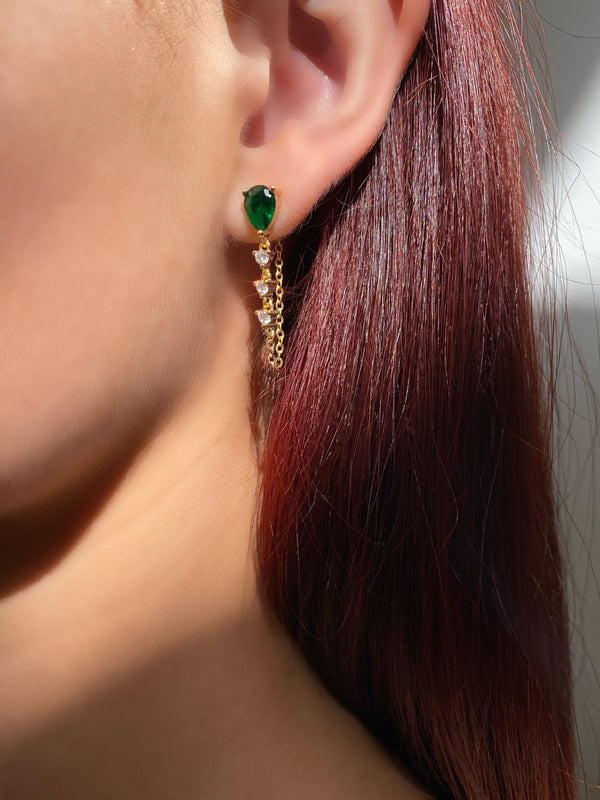 Emerald Teardrop Chain Earrings