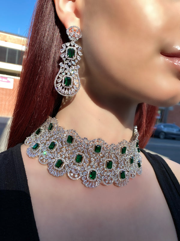 Emerald Princess Halo Collar Necklace & Earrings