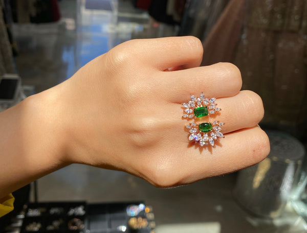 Rose Gold Emerald Double Firework Ring