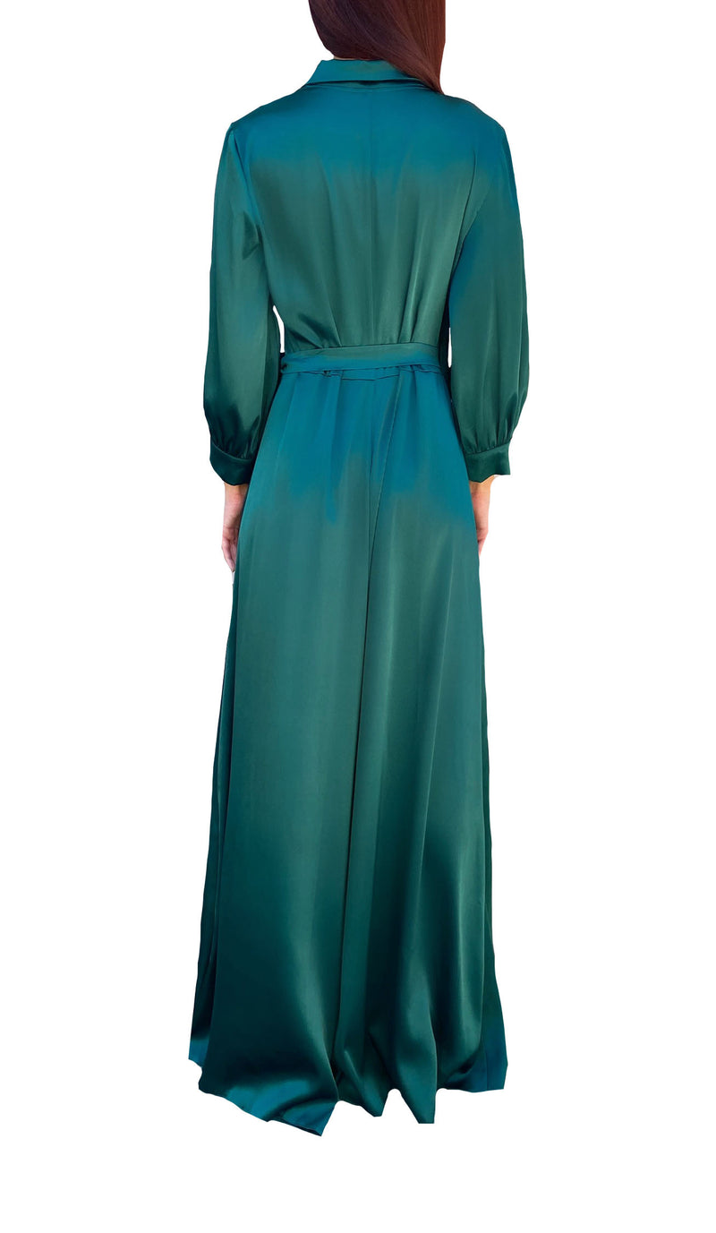 Emerald Silky Collar Maxi Dress