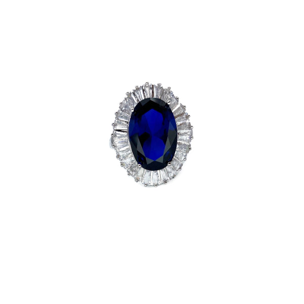 Sapphire Baguette Halo Ring