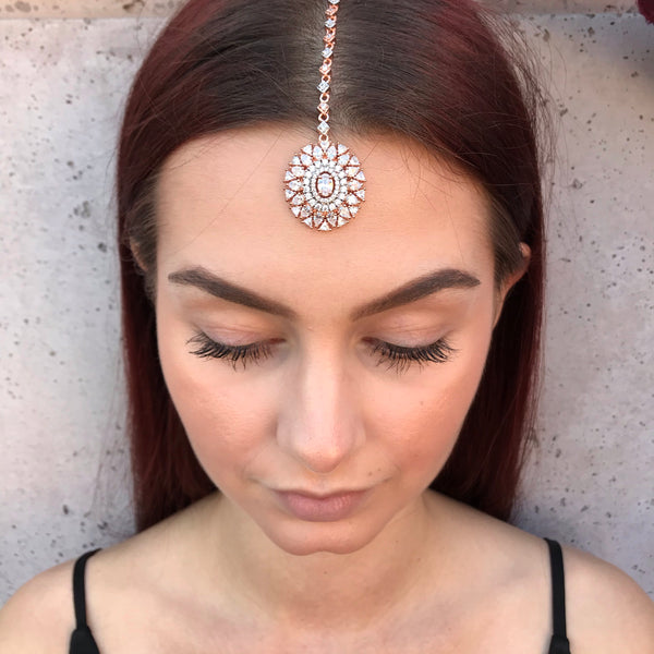 Rose Gold Oval Diamondesque Tikka Headpiece