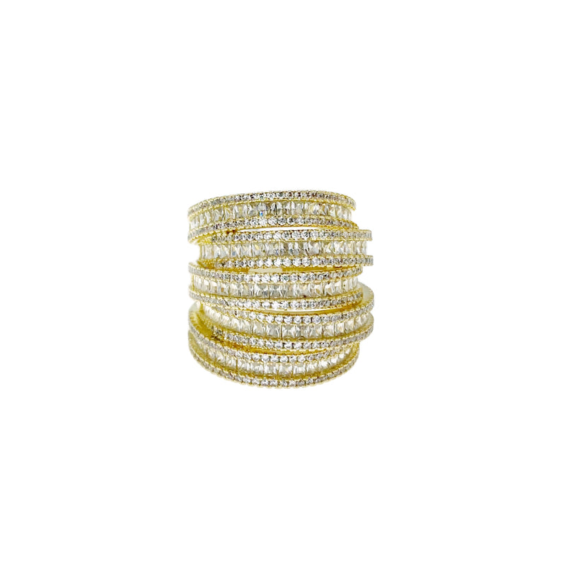Gold Stacked 3D Cocktail Ring