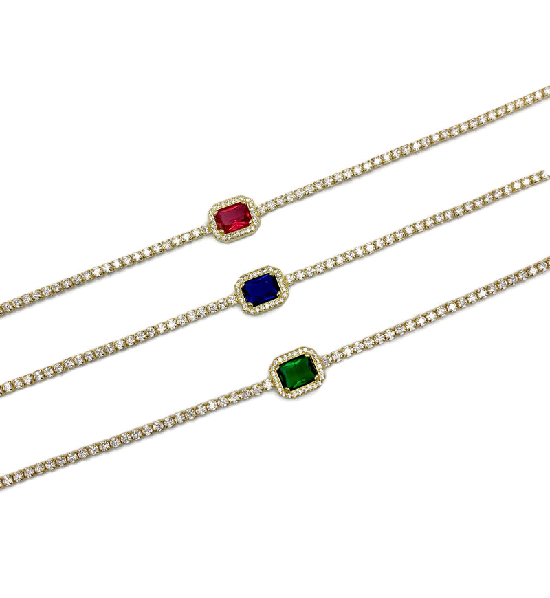 Dainty Line Center Gem Choker Necklace