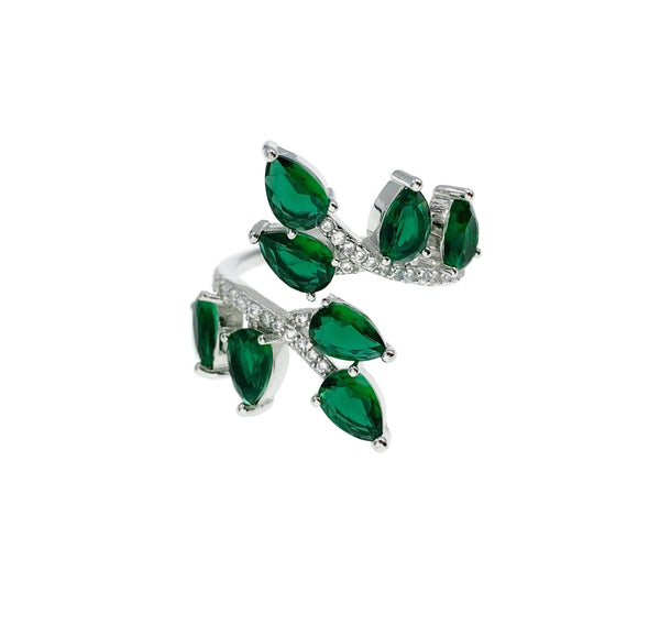 Emerald Teardrop Leaves Ring