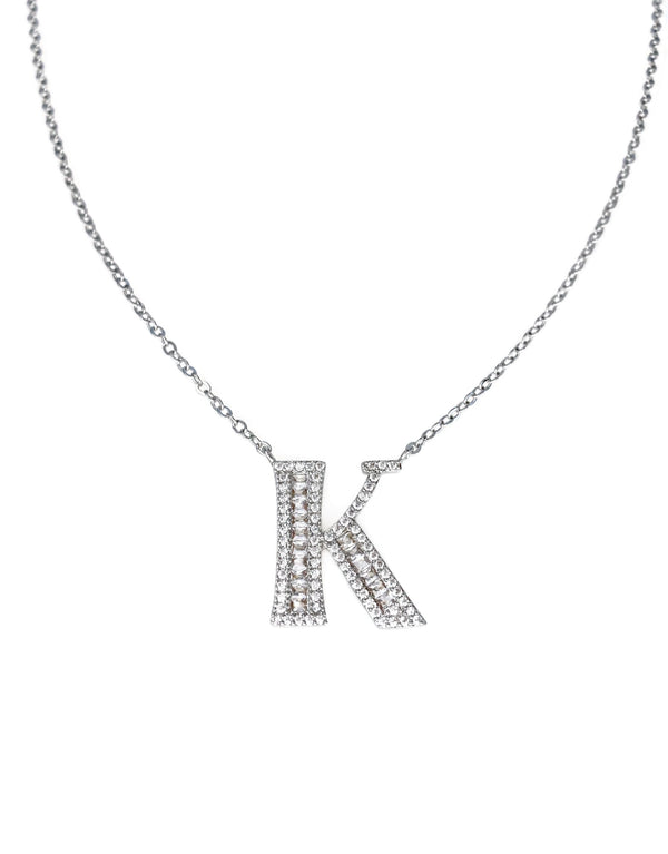 Baguette Letter Initial Necklace