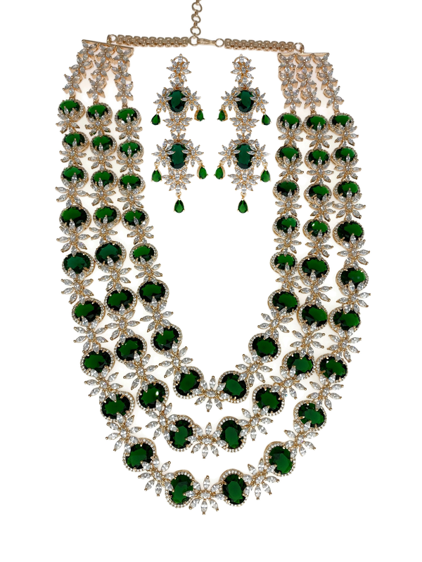Rose Gold Emerald Flowers Layered Long Necklace and Earrings